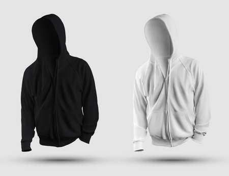 Template of a white, black 3D rendering hoodie, with a zipper, pocket, realistic mens sweatshirt isolated on background. Mockup of fashion clothes for design, advertising in an online store. Set front