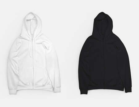 Set of white, black hoodie laid out, isolated on background, branded clothing with long sleeves, zipper closure, pockets. Mockup sweatshirt for design presentation, advertising. Clothes template, front