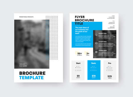 Vector brochure template with blue geometric design on white background, place for photo, front, back view. Flyer layout with information presentation for business concept, corporate identity booklet