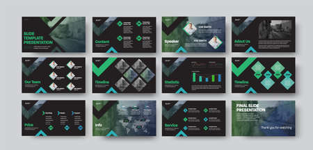 Vector set of presentation slides for analytics, annual report, business concept with corporate identity. Brochure illustration with green design on black background. Creative information pages template