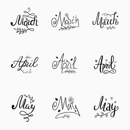 Vector set of handwritten lettering spring months, March, April, May, black text with decor on a white background. Illustration for calendar, postcards, mailing lists. Calligraphic inscriptions