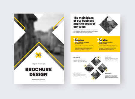 Brochure template with vector illustration, yellow inserts, cross, place for photo, presentation of creative design isolated on white background. Booklet layout in corporate identity, business concept