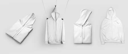 Mockup white folded hoodie hanging on a rope, trendy wrinkled sweatshirt with pocket, zipper closure, isolated on background. Stylish pullover template, for design presentation. Clothing set, front