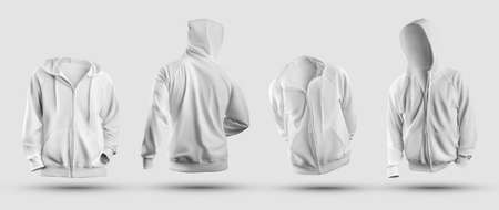 3d rendering white hoodie mockup, with zipper closure, pocket, front, back view, sweatshirt isolated on background. Fashion menswear template for design presentation, print. Bodyless pullover set