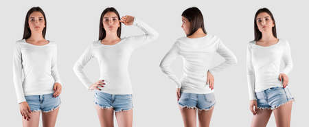 White long sleeve sweatshirt mockup on Caucasian girl, isolated on background, front, back view. Fashion clothes template for presentation design, print, pattern. Set of branded female pullover Banque d'images