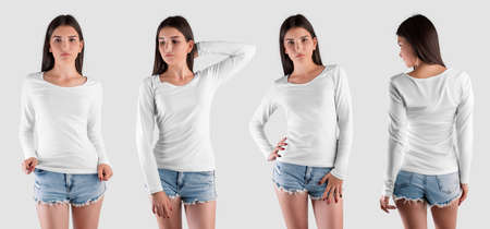 Stylish white pullover template on girl, long sleeve sweatshirt for design presentation, front, back view. Mockup fashion clothes isolated on background. Set of sweaters for women, for advertising
