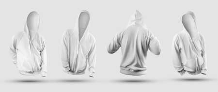 Stylish mens hoodie template 3D rendering, with zipper, pocket, ties, for design presentation, front, back. Mockup of fashion clothes without body, isolated on background, with shadows. Sweatshirt set