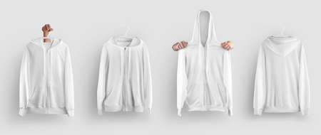 Mockup white hoodie with zipper on a hanger in hand, front, back view, isolated on background. Men's fashion clothing template with pocket for design presentation, advertisement. Set casual sweatshirt Banque d'images