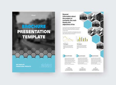 Vector brochure template with creative design presentation, blue, gray hexagons, place for photo, information on white background. Set of booklets with realistic shadows, pamphlet for print, front, back