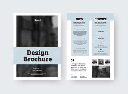 Vector brochure template with gray design on white background, place for photo, information, business promotion. Standard size leaflet with shadows, creative presentation print booklet, front, back view