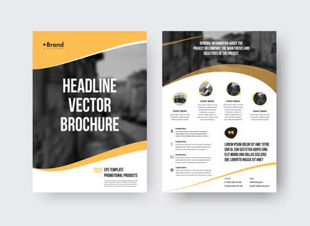 Vector brochure template with presentation of yellow design elements, place for photo, information, page with white background. Set of pamphlet with realistic shadows, concept for print, front, back Illustration
