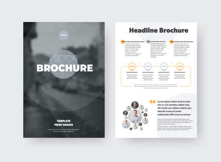 Vector brochure template with gray circle, place for photo, information presentation on white background, booklet for business concept. Set of pages with creative design for marketing, front, back view Illustration
