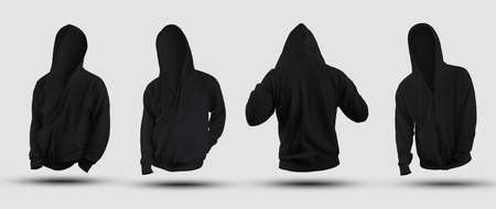 Set of 3D rendering black hoodie templates, wrinkled clothing for men with zipper, pocket, for design presentation. Mockup fashion clothes isolated on background, for advertising in store, front, back