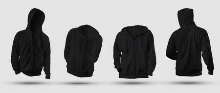 Set of mockups of black 3D rendering hoodie with zipper fastener, pocket, blank sweatshirt isolated on background, front, back view. Male sports pullover template for design presentation, advertising