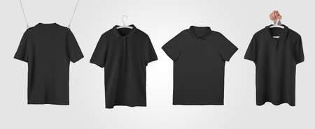 A set of mockups of a black male polo hanging on a rope, hanger in hand for design presentation. Template of trendy wrinkled t-shirt isolated on background, for advertising in the online store