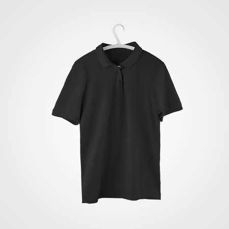 Mockup of black fashionable polo hanging on a hanger, isolated on background, stylish clothes, front view. Textured t-shirt template for design presentation, print, pattern, for advertising in the store Banque d'images
