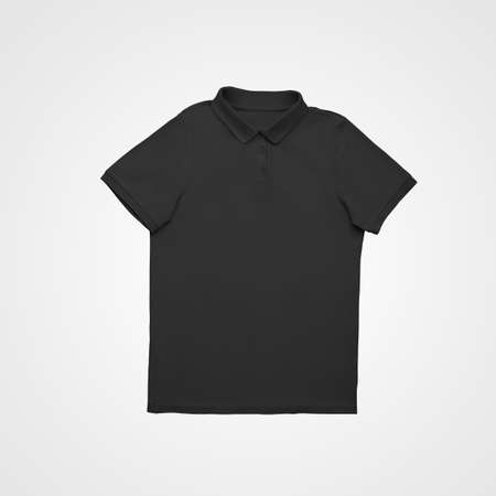 Blank black polo template, laid out on a white background, stylish t-shirt with buttons, collar. Mockup of fashionable clothes for design presentation, print, advertising in an online store, front view