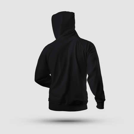 3D rendering of a mockup of a black male hoodie with a hood, handcuffs, isolated on background, back. Clothes textured template for design presentation, print, pattern. Long Sleeve Casual Sweatshirt