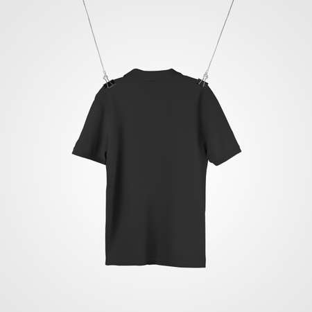 Mockup of black casual polo hanging from ropes for design presentation, print, back view. Fashion clothes template isolated on background, t-shirt for advertising in online store, product promotion Banque d'images