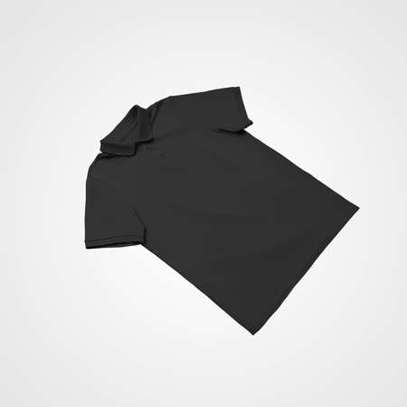 Black casual t-shirt template laid out and isolated on background, for presentation of design, print, pattern, front. Men's polo mockup for advertising in an online store. Stylish, fashionable clothes Banque d'images