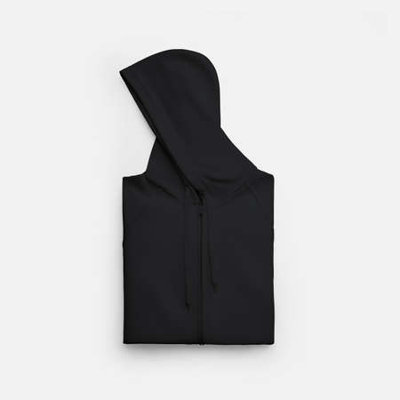 Mockup of a black folded hoodie with ties on a beautifully laid out hood, front, isolated on background. Men's clothing template with zipper, for design presentation, print, pattern, for advertising Banque d'images