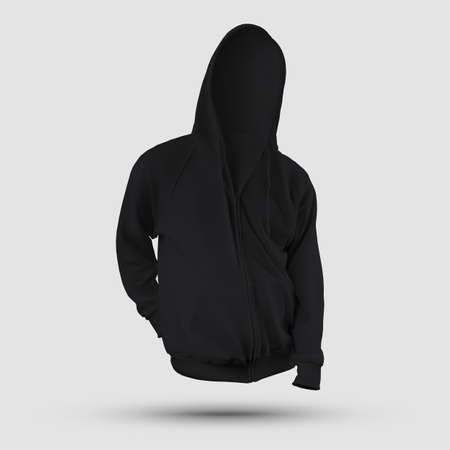 Black hooded sweatshirt template, 3D rendering of sweatshirt with pocket, zipper, ties, front view, for design presentation, print. Mockup of trendy textured clothes isolated on background