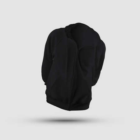 Mockup of a stylish black sweatshirt with a hood 3D rendering with a zipper, pocket, drawstring on the hood, front, for design presentation, pattern. Pullover template isolated on background, clothing Banque d'images