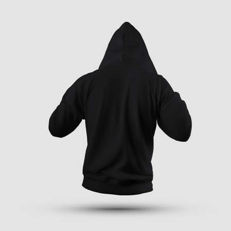 Stylish black hoodie template 3D rendering straightening hood, mens clothing on background, back view. Long sleeve sweatshirt Mockup casual blank for presentation of design, print, pattern Banque d'images