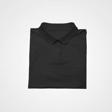 Mockup of a black polo neatly folded, isolated on background, for advertising in an online store, product promotion. Stylish men's T-shirt template with buttons, collar, for design presentation, print