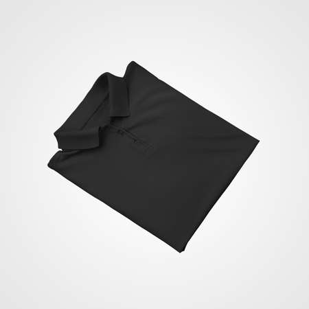Black mens polo template with collar buttons, folded for design presentation, print, pattern, online store advertising. Mockup of fashionable clothes, stylish t-shirt isolated on background, front view Banque d'images