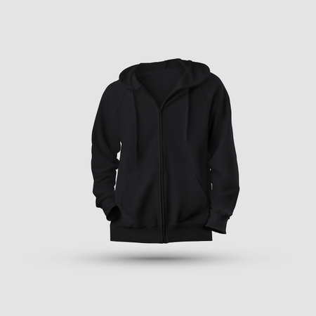 3D rendering of a black hooded mockup with a zipper, pocket and drawstrings on the hood, isolated on background, front view. Stylish sweatshirt for design presentation, advertising in an online store.