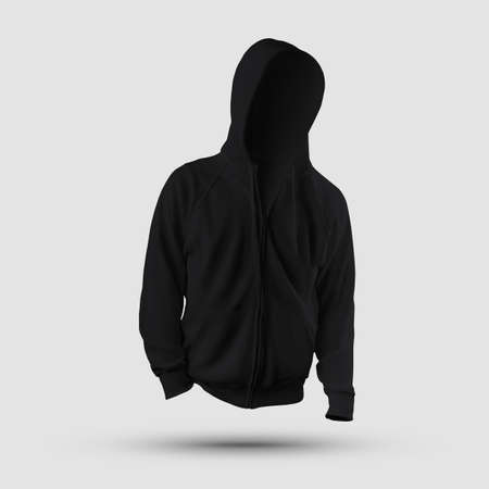 Mockup textured black hoodie with drawstring hood, zipper, pocket, cuffs, for design presentation, print, front view. Men's clothing template isolated on background, long sleeve sweatshirt Banque d'images