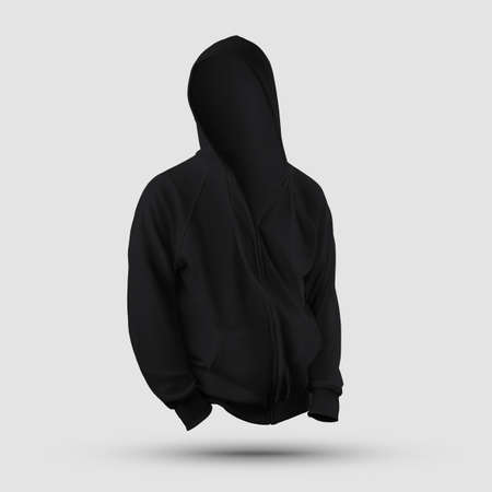 Black textile template with hood 3D rendering with pocket, zipper, drawstring isolated on background, front view. Mockup of men's clothing, for presentation of design, print, pattern