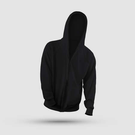 Black clothes template 3D rendering, mens hoodie with pocket, zipper, ties, front view, isolated on background. Mockup sweatshirt with long sleeves, for presentation of design, print, pattern