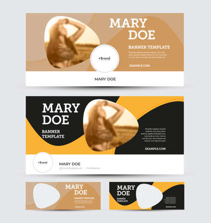 Vector banner template for social media advertising, business concept. Flyer with design presentation, abstract color illustration, place for photo, brown, yellow elements on white, black background.Set