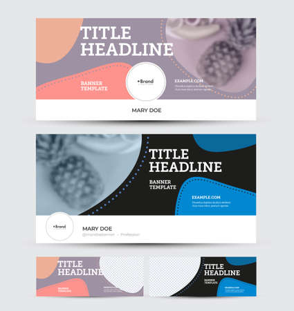 Vector banner template for social media advertising, with place for photo, presentation of colorful design, pattern. Flyer layout with information for business concept. Horizontal voucher set