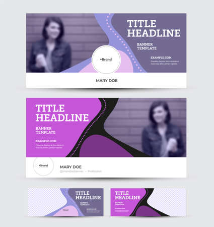 Vector banner set with presentation of bright colorful design with purple elements, place for photo, header, for social media ad, website. Horizontal flyer template with abstract pattern on background