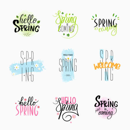 Vector illustration with handwritten lettering of spring greetings, green, pink, blue decor. Set of calligraphic compositions. Motivational text presentation, design for postcards, mailings, messages Illustration