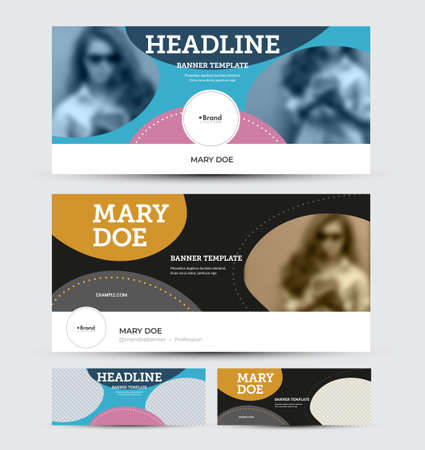 Vector banner template with abstract pattern, place for photo, colorful design on white, blue background. Set of horizontal flyers for website, social media advertising, header presentation, information