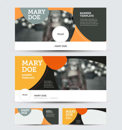 Set of vector banners with header, info, place for photo, flyer for social media advertising. Presentation horizontal template for website with colorful abstract design on background, business concept Illustration
