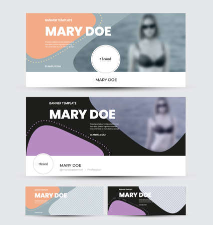 Vector banner template with abstract design, colorful elements, place for photo, flyer for social media advertising. Presentation layout for website, horizontal size cover on gray, black background Illustration