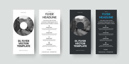 Vector dl flyer template on white, black background with round design elements, with realistic shadows, for presentation, business advertising. Set of layouts brochures pia concept, print information