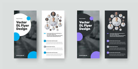 Vector dl flyer template with creative geometric design presentation, with round blue, purple elements. Set brochure, front, back view, business concept, informative booklet for annual report, print