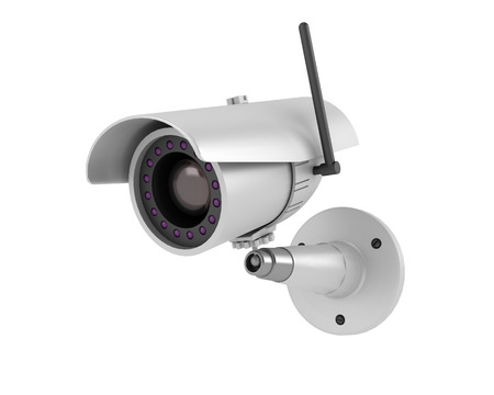 deterrent: security camera on white background Stock Photo