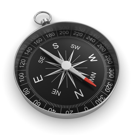 coordinate: compass chrome on white background Stock Photo