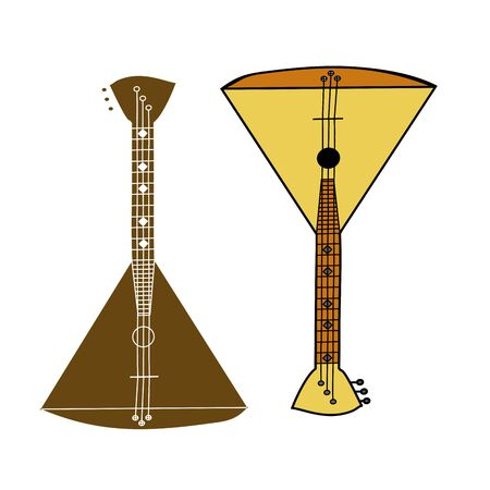 performers: Russian folk musical instrument balalaika.Wooden soundboard, strings for sound, a triangular form for music.Brown, yellow color.Used by musicians, bands, performers, solo.The symbol of the Russian people. Illustration