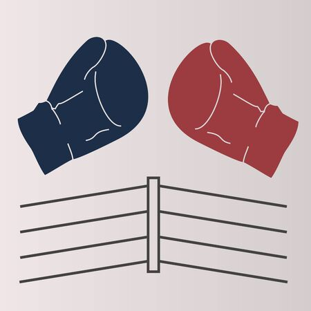 competitions: Vector illustration, boxing, red, blue glove, the ring ropes.Isolated figure, two sports equipment, protect the hands of the athlete, gray background.Icon for competitions, matches, sports games, arts Illustration