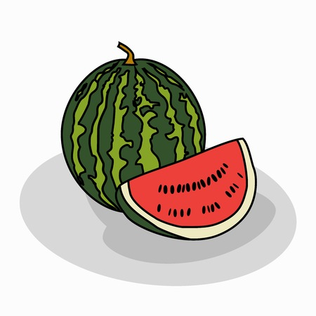 rind: Abstract vector illustration for a big, ripe, red watermelon.The isolated figure of the fruit, thick rind, berry, piece of fruit, close-up on white background.Icon for shop, market, food, vitamins, nature.