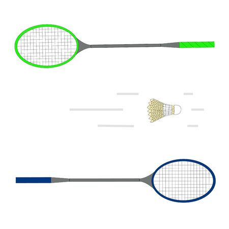 enemy: Vector illustration for a badminton game, consisting of a flying yellow ball, green and blue racket close-up.Sports equipment for the sport.Wooden object hanging in the air to repel the enemy.