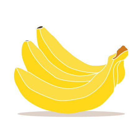 rind: Abstract vector illustration of three yellow, ripe bananas.Isolated the drawing from the branches of tropical fruit, thick rind, close-up on white background.Icon for shop, market, food, vitamins.